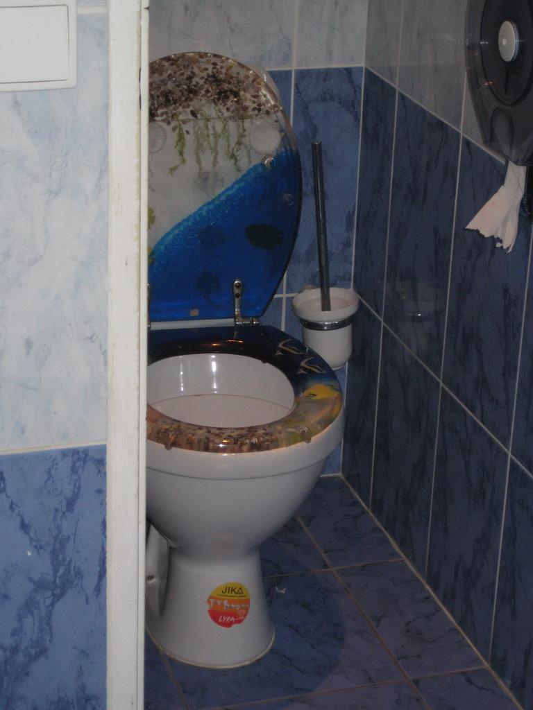 Даже унитаз в туалете пражского аквариума морской тематики.