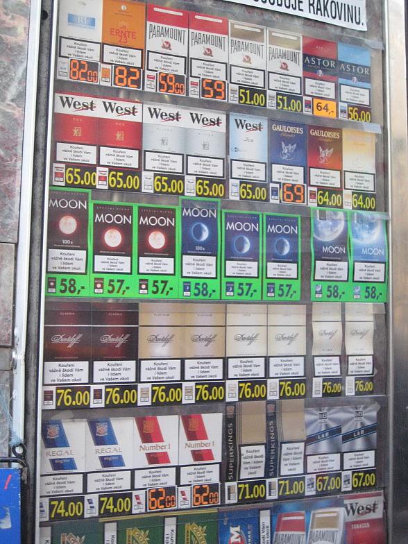Сколько стоят сигареты в Праге.