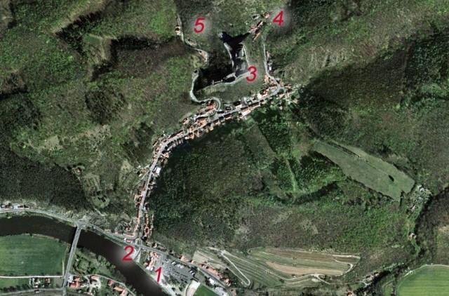 Карта с расположением комплекса Карлштейн в Чехии