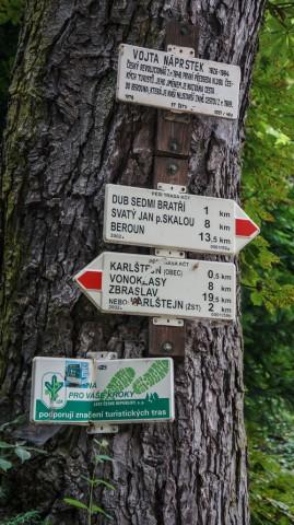 Указатели туристических маршрутов и достопримечательностей в Карлштейне
