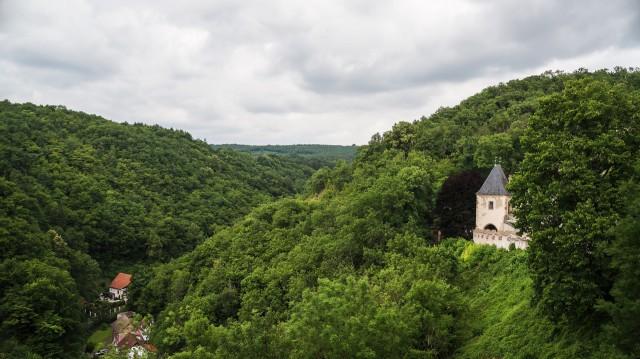 Вид на леса со смотровой площадки замка Карлштейн