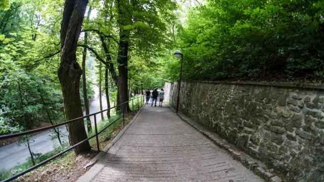 Спуск вниз от замка Карлштейн