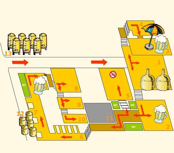 Схема залов Новоместского пивовара