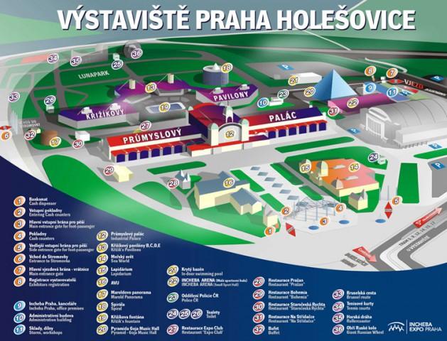 Карта парка аттракционов в Праге на Выставиште