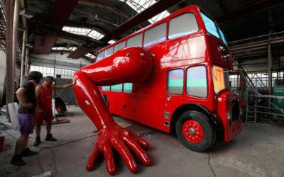 Двухэтажный отжимающийся автобус