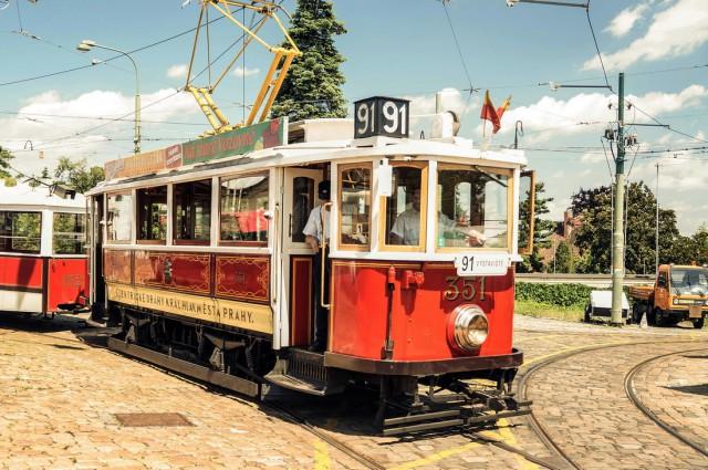Исторический трамвай 91 в Праге