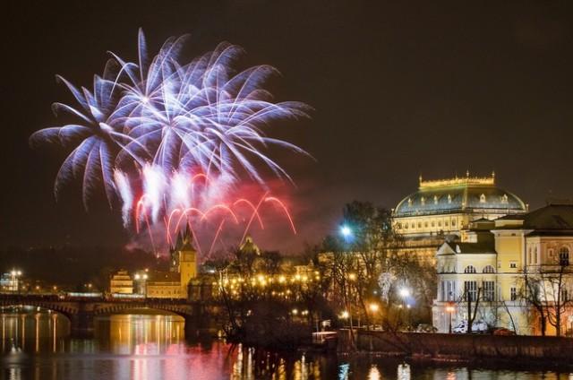 Салют в Праге на Новый Год