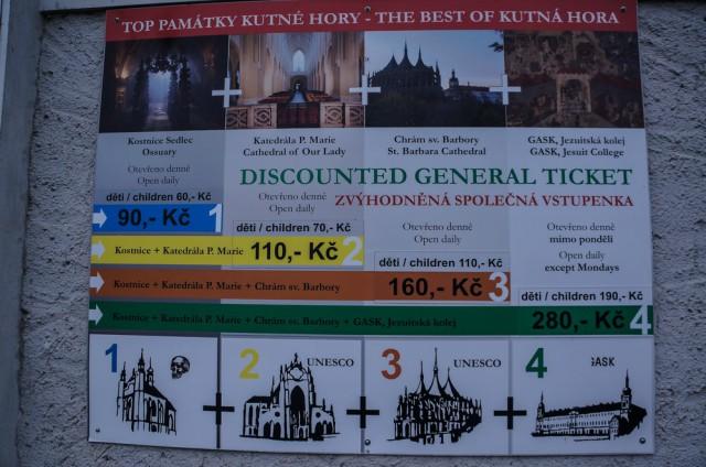 Цены на вход в достопримечательности Кутной Горы