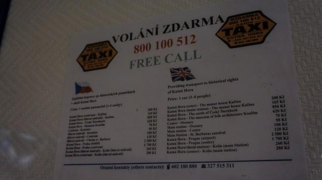 Расценки на такси в Кутной Горе