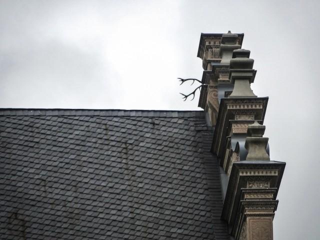 Шварценбергский дворец в Праге с рогами на крыше