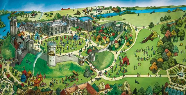 План развлечений Уорикского замка в Англии
