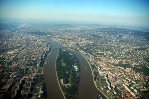 Будапешт с птичьего полёта. Остров Маргит.