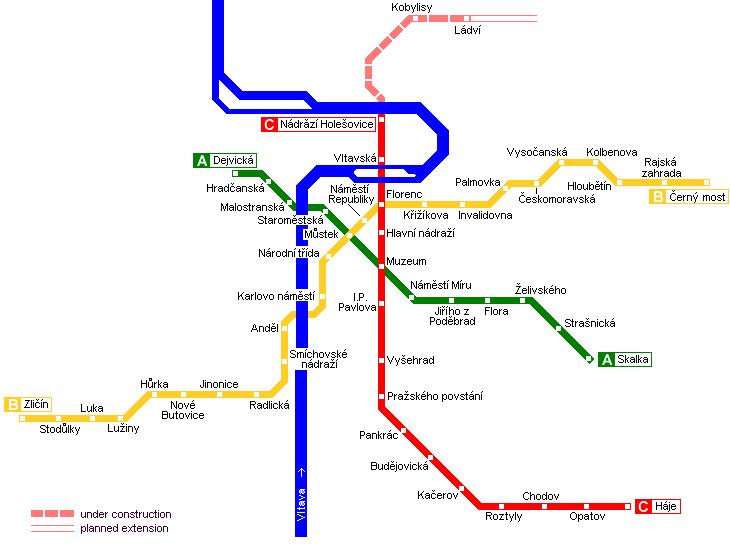 Здесь схема транспорта Праги и